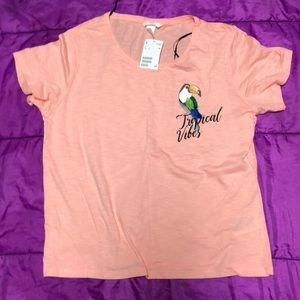 H& M Short sleeve women's peach colored tee Size L
